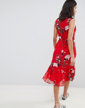 photo Exotic Bird Print Midi Dress by Sofie Schnoor, color Red - Image 2