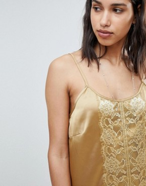 photo Lace Detail Slinky Slip Dress by Sofie Schnoor, color Gold - Image 1