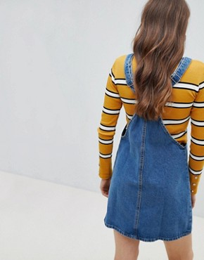 photo Denim Dungaree Dress by Stradivarius, color Blue - Image 2