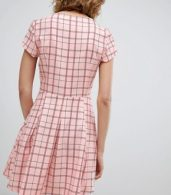 photo Square Neck Mini Dress with Zip Front by Unique 21, color Pink Check - Image 2