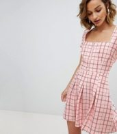 photo Square Neck Mini Dress with Zip Front by Unique 21, color Pink Check - Image 4
