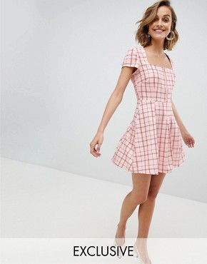 photo Square Neck Mini Dress with Zip Front by Unique 21, color Pink Check - Image 1