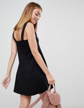 photo Buckle Strap Swing Sundress by ASOS DESIGN Petite, color Black - Image 2
