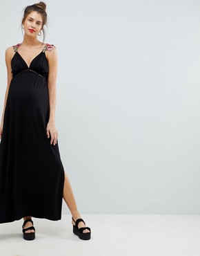 photo Maternity Rose Applique Strap Maxi Dress by ASOS DESIGN, color Black - Image 1