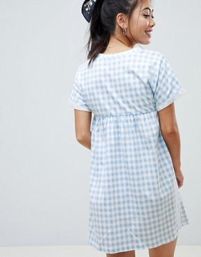 photo Ultimate Cotton Smock Dress in Gingham by ASOS DESIGN Petite, color Multi - Image 2