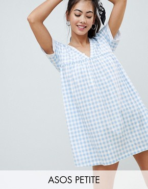 photo Ultimate Cotton Smock Dress in Gingham by ASOS DESIGN Petite, color Multi - Image 1