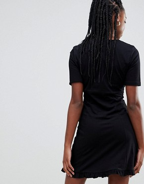 photo Button Through Tea Dress with Frill Hem by ASOS DESIGN Tall, color Black - Image 2