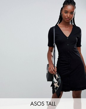 photo Button Through Tea Dress with Frill Hem by ASOS DESIGN Tall, color Black - Image 1