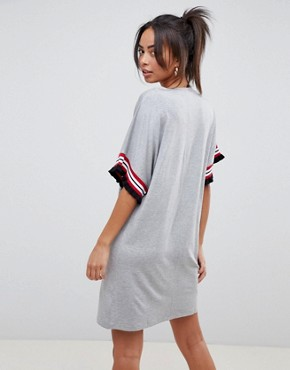 photo t-shirt Dress in Grey Marl with Frill Tipped Sleeve by ASOS DESIGN Tall, color Grey Marl - Image 2