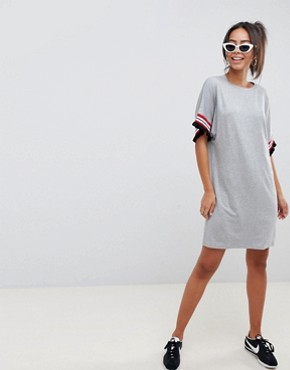 photo t-shirt Dress in Grey Marl with Frill Tipped Sleeve by ASOS DESIGN Tall, color Grey Marl - Image 4