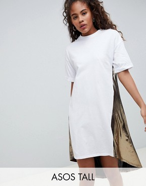 photo t-shirt Dress with Metallic Dip Back by ASOS DESIGN Tall, color Multi - Image 1