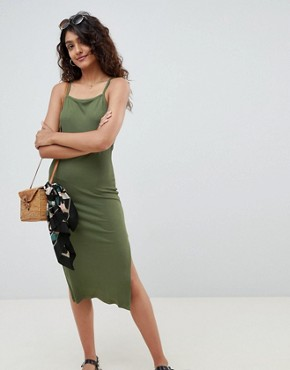 photo Ring Detail Rib Midi Dress by ASOS DESIGN Tall, color Khaki - Image 2