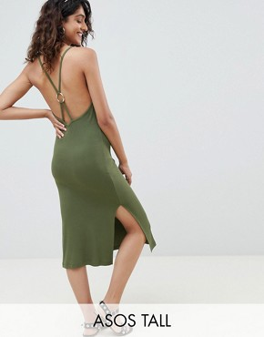 photo Ring Detail Rib Midi Dress by ASOS DESIGN Tall, color Khaki - Image 1