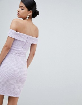 photo Bardot V-Neck Bodycon Mini Dress by Missguided, color Pale Lilac - Image 2