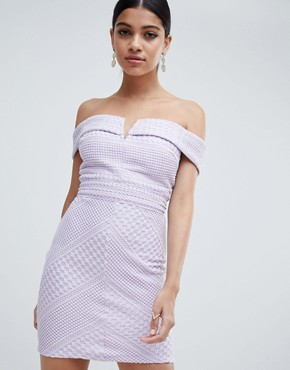 photo Bardot V-Neck Bodycon Mini Dress by Missguided, color Pale Lilac - Image 4