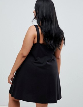 photo Buckle Strap Swing Sundress by ASOS DESIGN Curve, color Black - Image 2