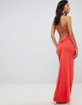 photo Super Cut Out Slinky Maxi Dress by ASOS DESIGN, color Coral - Image 2