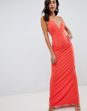 photo Super Cut Out Slinky Maxi Dress by ASOS DESIGN, color Coral - Image 1