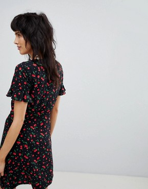 photo Button Front Loose Skirt Cherry Print Dress by Stradivarius, color Black - Image 2