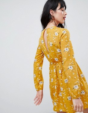 photo Floral Swing Dress by Unique 21, color Mustard Floral - Image 2