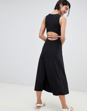 photo Stripe Waistband Dress with Back Cutout by Stradivarius, color Black - Image 2
