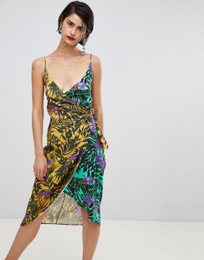 photo Floral Print Skinny Strap Wrap Dress by Stradivarius, color Multi - Image 1