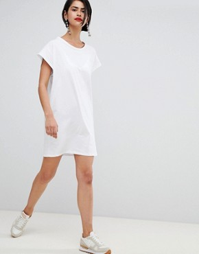 photo Jersey T-Shirt Dress by Stradivarius, color White - Image 4