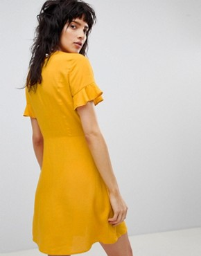 photo Button Front Dress by Stradivarius, color Yellow - Image 2