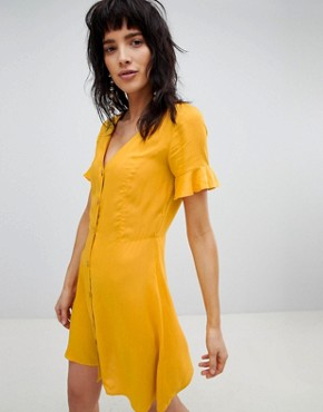 photo Button Front Dress by Stradivarius, color Yellow - Image 1