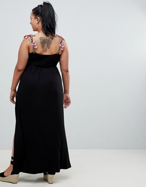 photo Rose Applique Strap Maxi Dress by ASOS DESIGN Curve, color Black - Image 2