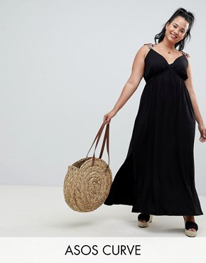 photo Rose Applique Strap Maxi Dress by ASOS DESIGN Curve, color Black - Image 1