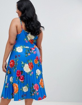 photo Scuba Floral Cami Pleated Midi Prom Dress by ASOS DESIGN Curve, color Multi - Image 2