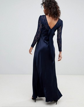photo Long Sleeve Maxi Dress with Lace Bodice & Bow Back by Ghost, color Navy - Image 2