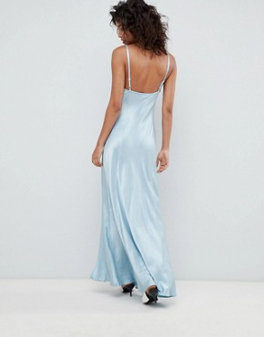 photo Bridesmaid Satin Maxi Cami Dress by Ghost, color Skylight Blue - Image 2