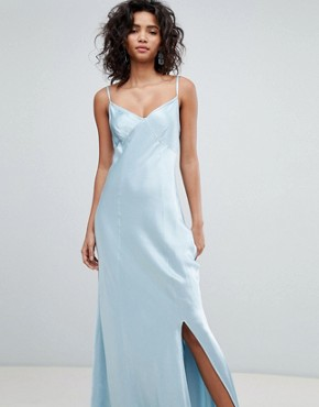 photo Bridesmaid Satin Maxi Cami Dress by Ghost, color Skylight Blue - Image 1