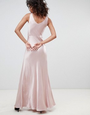 photo Bridesmaid Satin Maxi Dress with V-Front & Back by Ghost, color Pink - Image 2