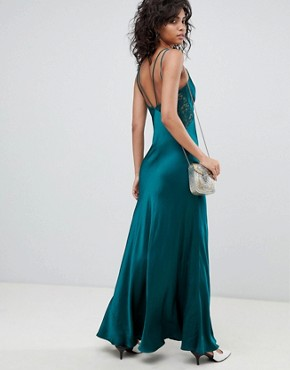 photo Satin Maxi Cami Dress with Lace Inserts by Ghost, color Emerald Sea - Image 2
