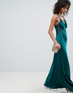 photo Satin Maxi Cami Dress with Lace Inserts by Ghost, color Emerald Sea - Image 1