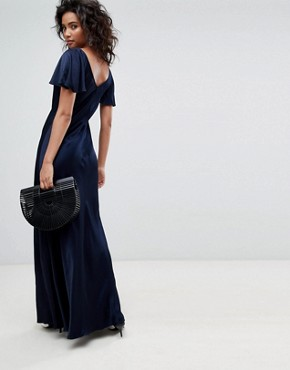 photo Fluted Capped Sleeve Satin Maxi Dress with Ruched Detail by Ghost, color Navy - Image 2