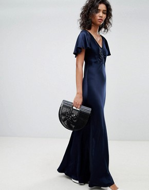 photo Fluted Capped Sleeve Satin Maxi Dress with Ruched Detail by Ghost, color Navy - Image 1