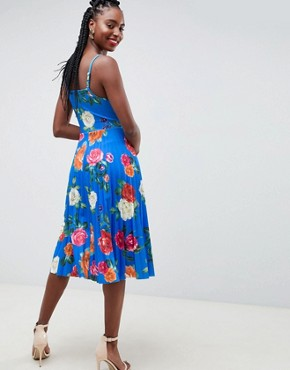 photo Scuba Floral Cami Pleated Midi Prom Dress by ASOS DESIGN Tall, color Multi - Image 2