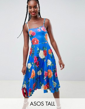 photo Scuba Floral Cami Pleated Midi Prom Dress by ASOS DESIGN Tall, color Multi - Image 1