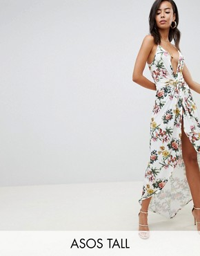 photo Slinky Occasion Maxi Dress in Floral Print by ASOS DESIGN Tall, color Multi - Image 1