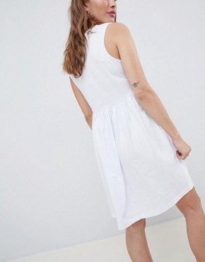 photo Sleeveless Button Smock Dress by ASOS DESIGN Petite, color White - Image 2