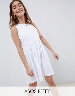 photo Sleeveless Button Smock Dress by ASOS DESIGN Petite, color White - Image 1