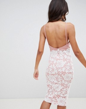 photo Lace Low Back Midi Dress by Girl in Mind, color Blush - Image 2