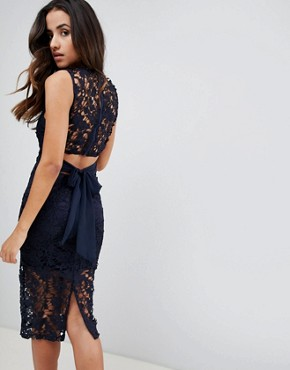 photo Lace Tie Back Midi Dress by Girl in Mind, color Navy - Image 2