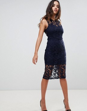 photo Lace Tie Back Midi Dress by Girl in Mind, color Navy - Image 1