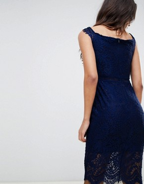 photo Off the Shoulder Lace Dress by Girl in Mind, color Navy - Image 2