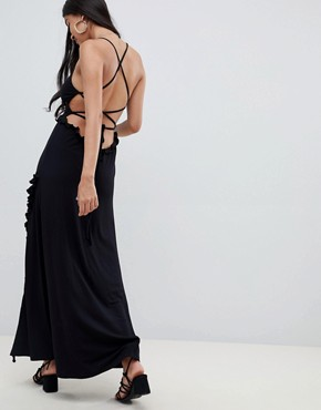 photo Lace up Maxi Dress with Ladder Trim by ASOS DESIGN, color Black - Image 1